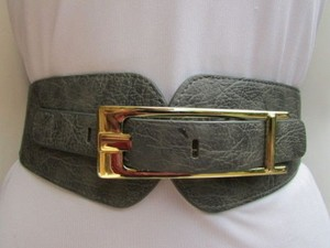 Other Women Waist Hip Gray Elastic Fashion Belt Long Gold Metal Buckle 28-37