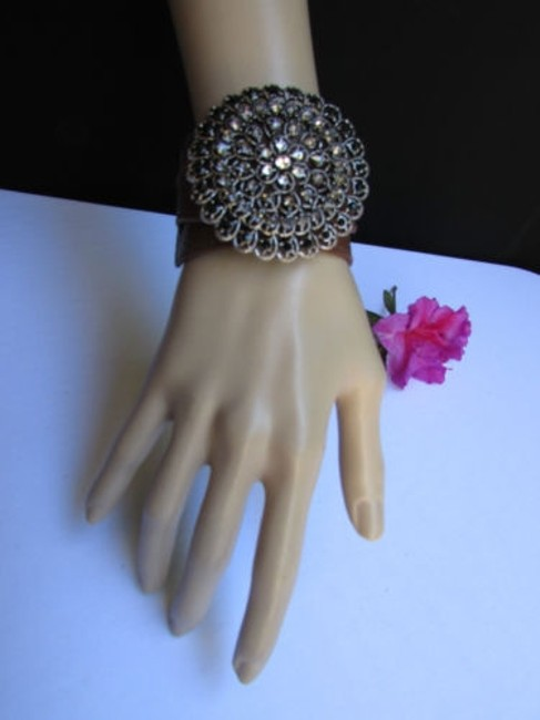 Alwaystyle4you Brown Women Silver Flower Faux Leather Casual Bracelet Alwaystyle4you Brown Women Silver Flower Faux Leather Casual Bracelet Image 1