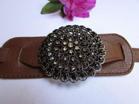 Other Women Silver Big European Flower Fashion Brown Faux Leather Casual Bracelet