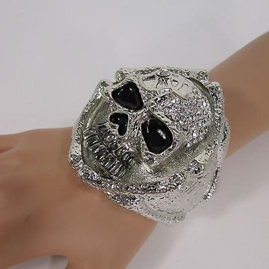 Other Women Silver Hand Bones Skeleton Wide Multi Skull Head Face Fashion Bracelet