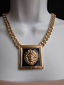 Women Gold Metal Chains Fashion Necklace Black Lion Head Square Pendants