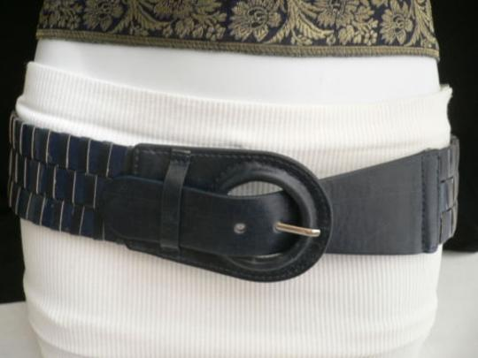 Other Women Hip Elastic Faux Leather Blue Fashion Belt Circle Buckle 27-34