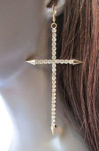 Other Women Gold Metal Fashion Earrings Hooks Dangle Cross Spikes Rhinestone