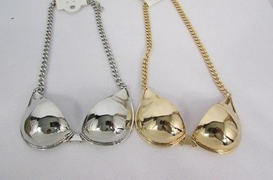 Other Women Mini Metal Bra Pendant 13 Long Chains Fashion Necklace Gold Silver