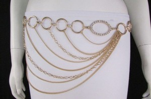 Women Gold Metal Chains Links Strands Fashion Belt Circles 28-42