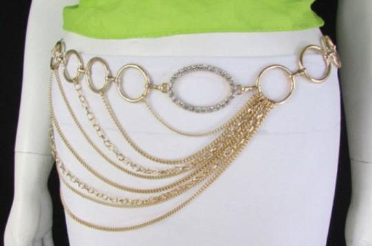 Other Women Gold Metal Chains Links Strands Fashion Belt Circles