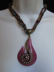Other Women Strands Fashion Necklace Purple Glass Snale Pendant Rhinestones