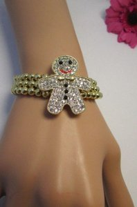 Other Women Shiny Gold Elastic Bracelet Cookie Man Fashion Jewelry Mini Rhinesones