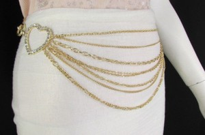 Women Silver Gold Metal Chain Links Fashion Belt Big Hearts 28-42