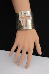 Women Bracelet Fashion Gold Silver Cuff Jewelry Cut Out Big Sparkling Cross