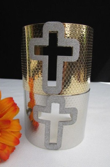 Other Women Bracelet Gold Silver Cuff Jewelry Cut Out Big Sparkling Cross