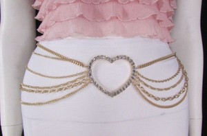 Women Gold Metal Chains Links Strands Fashion Belt Big Heart 28-42