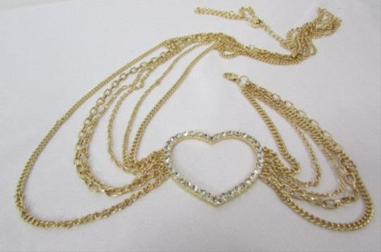 Other Women Gold Metal Chains Links Strands Fashion Belt Big Heart 28-42