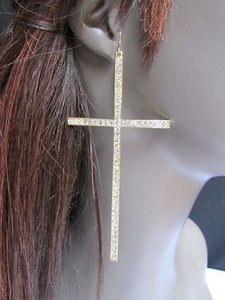 Other Women Long Big Gold Metal Fashion Rhinestones Cross Earrings 4.5 Drop