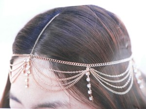 Women Head Metal Chain Fashion Gold Stones Grecian Hair Accessories Band