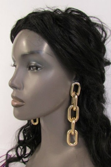 Other Women Earrings Gold Silver Thick Chain Hook Links Hoop Urban