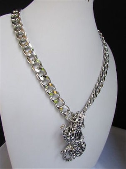Other Women Silver Metal Chains Necklace Big Tiger Leopard Cheetah Body