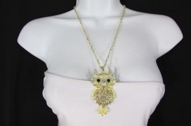 Women Necklace Fashion 26 Long Gold Metal Chains Big Owl Silver Rhinestone Women Necklace Fashion 26 Long Gold Metal Chains Big Owl Silver Rhinestone Image 1