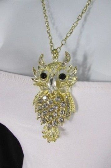 Other Women Necklace Fashion 26 Long Gold Metal Chains Big Owl Silver Rhinestone