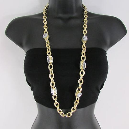 Other Women Gold Metal Chain Links Rhinestones Necklace Earrings