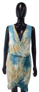 Urban X short dress Turquoise/Blue/Beige Surplice Wrap Tie Dye Earth Tones on Tradesy