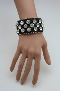 Women Black Leather Bracelet Fashion Jewelry Metal Studs Silver Rhinestones