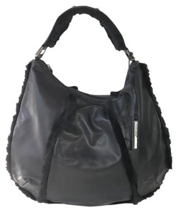 Kenneth Cole Shearling Faux Fur Leather Oversized Hobo Bag