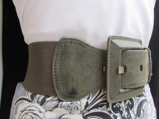 Other Women Waist Hip Gray Elastic Fashion Belt Big Square Buckle 25-32