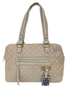 L.A.M.B. Quilted Leather Trademark Satchel in Slate Beige