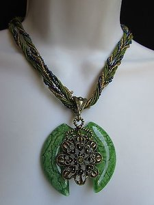 Other Women Strands Fashion Necklace Green Glass Flower Pendant Rhinestones 10
