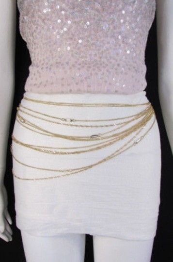 Other Women Silver Gold Thin Metal Chains Fashion Belt 15 Strands 28-42