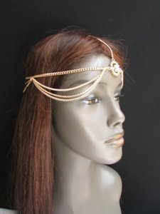 Women Gold Head Metal Body Chain Fashion Jewelry Grecian Circlet Rhinestones