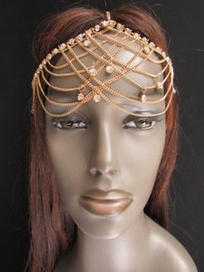 Women Gold Head Chain Fashion Drape Jewelry Grecian Circlet Clear Beads