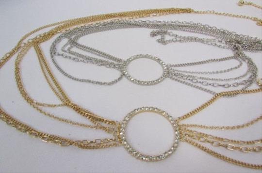 Other Women Silver Gold Metal Chains Fashion Belt Big Center Ring 28-42