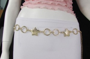 Women Gold Chain Fashion Belt Big Stars Moon Hearts Hip Waist 28-42