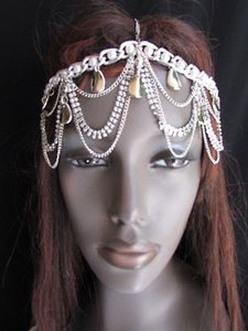 Women Silver Head Metal Body Chain Hot Jewelry Grecian Circlet Rhinestones