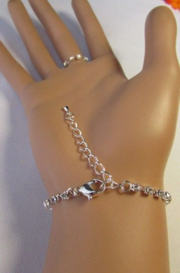 Other Women Bracelet Fashion Silver Hand Chain Multi Big Hearts Rhinesones