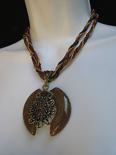Other Women Strands Fashion Necklace Brown Glass Flower Pendant Rhinestones 10
