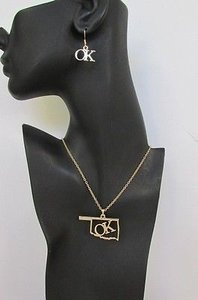Other Women 18 Long Gold Chains Fashion Necklace Ok Pendant Oklahoma Earrings