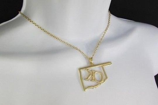 Other Women Gold Chains Necklace OK Pendant Oklahoma Earrings