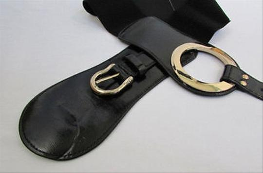 Other Women Fashion Belt Wide Stretch Black Elastic Fax Leather Gold Buckle