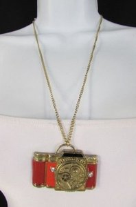 Other Women Long Gold Metal Chains Necklace Old Fashion Collector Camera Red Orange