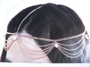 Other Women Gold Head Body Chain Fashion Jewelry Grecian Circlet Big Silver Beads