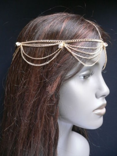 Other Women Gold Head Body Chain Jewelry Grecian Circlet Big Silver Beads