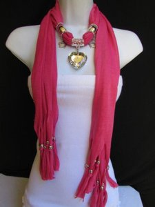 Women Pink Soft Fabric Scarf Necklace Silver Big Heart Crystal Stars Pendant