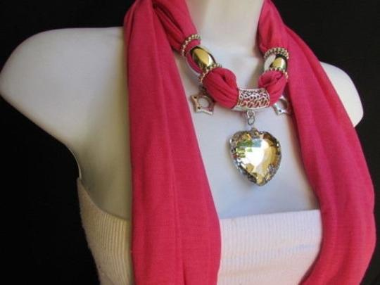 Other Women Pink Soft Fabric Scarf Necklace Silver Big Heart Crystal Stars