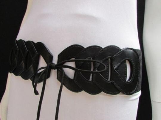 Other Women Waist Hip Black Elastic Braided Fashion Belt Long Fringes 26-32