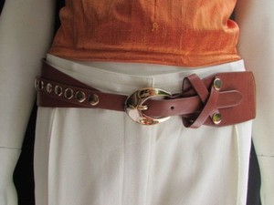 Other Women Waist Hip Brown Elastic Fashion Belt Gold Studs Oval Buckle 27-36