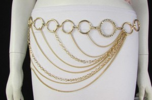 Women Silver Gold Metal Chains Fashion Belt Multi Ring Circles 28-42