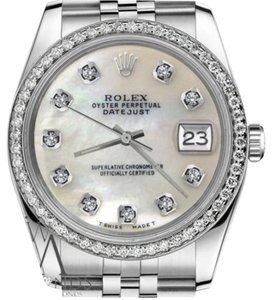 Rolex Man`s Rolex 36mm Datejust White MOP Mother Of Pearl Diamond Dial Watch